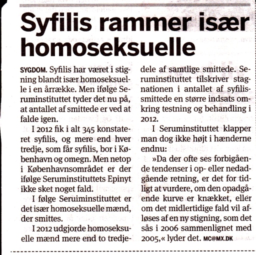 Metroxpres Syfilis rammer især homoseksuelle