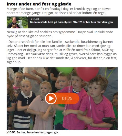 2017-06-22 20_02_13-Sisse Fisker arrangerede festdag for syge børn med sangstjerner _ TV2 ØSTJYLLAND